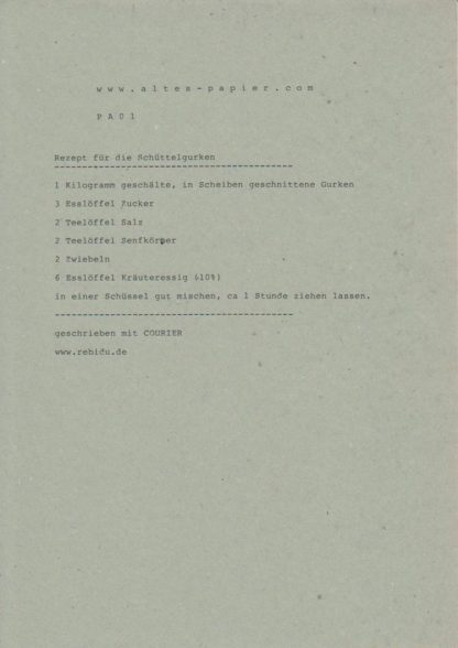 altes Durchschlagpapier Rezept Schüttelgurken